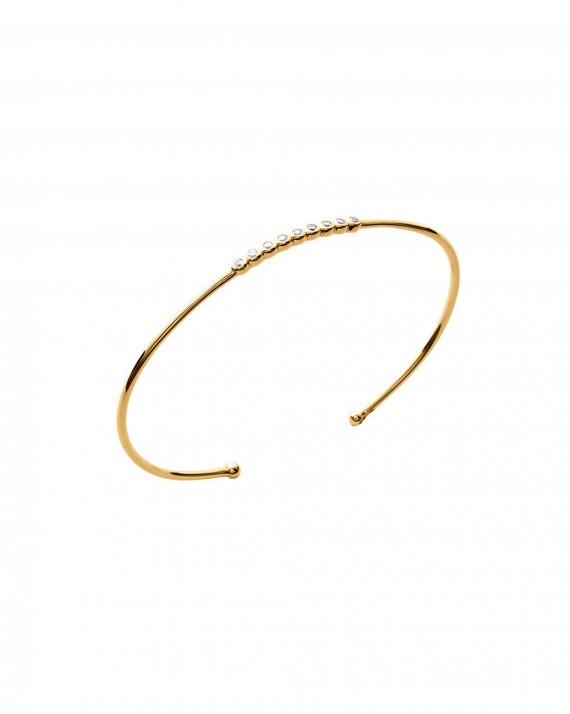 Bracelet jonc ouvert plaqué or brillants zircon vu sur Instagram - Bijoux créateur femme - Madame Vedette