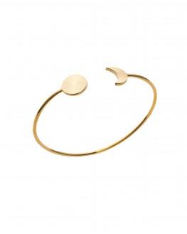 Bracelet jonc ouvert demi lune soleil plaqué or - Bijoux créateur - Madame Vedette