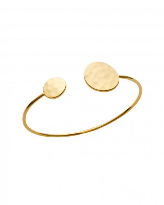 Bracelet jonc ouvert pastilles martelées plaqué or - Bijoux tendances vus sur Instagram - Madame Vedette