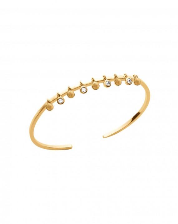 Nouveauté bracelet femme jonc ouvert plaqué or pampilles brillants zircon - Bijoux de créateur - Madame Vedette