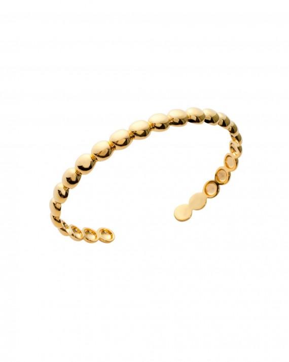 Bracelet jonc ouvert boules plaqué or - Bijoux créateur mode tendance - Madame Vedette