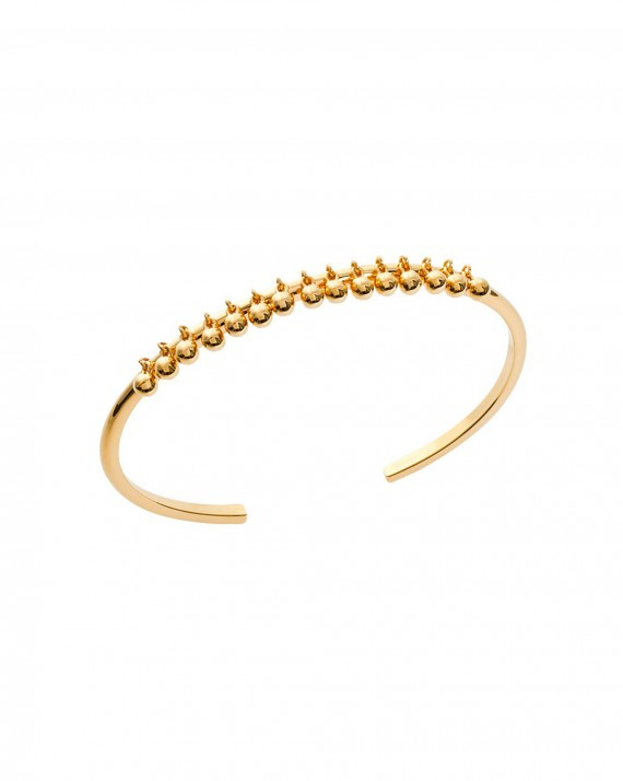 Bracelet jonc ouvert plaqué or pampilles boules - Bijoux créateur mode tendance - Madame Vedette