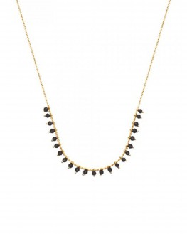 Acheter collier femme chaîne plaqué or succession pierres noires - Bijoux créateur tendance - Madame Vedette