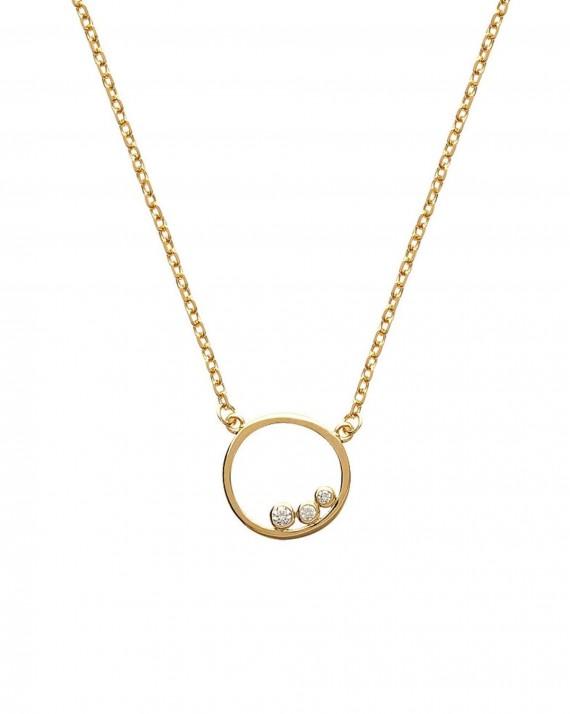 Collier chaîne anneau plaqué or brillants zircon - Bijoux créateur tendance - Madame Vedette