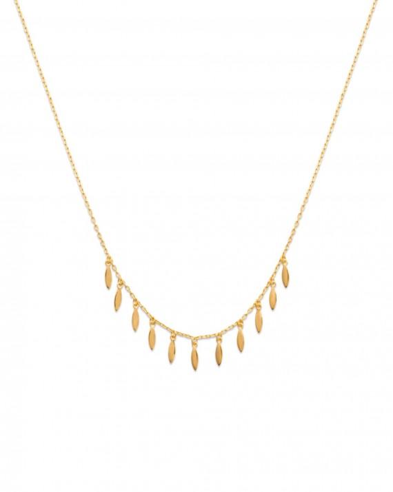 Collier chaîne plaqué or multiples pampilles pétales - Bijoux tendances blogueuse Instagram - Madame Vedette