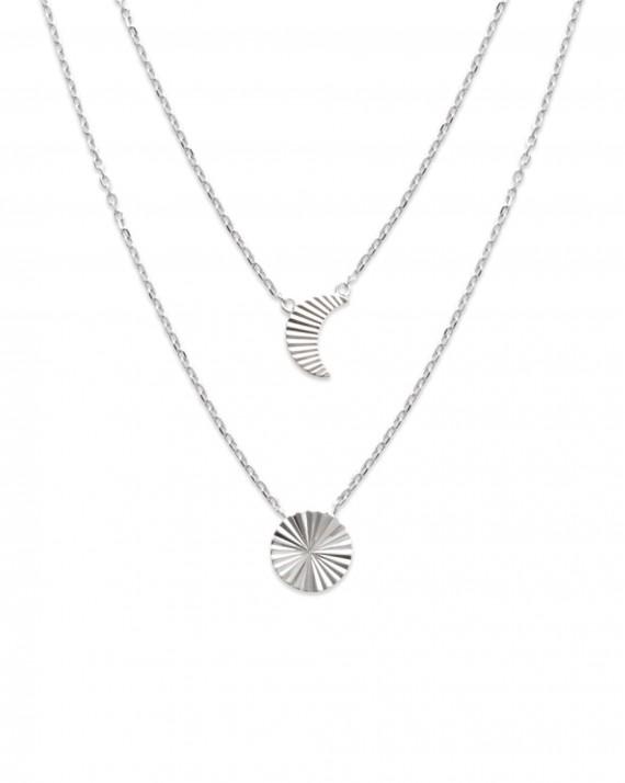 Collier chaîne argent 925 double rang demi lune et soleil - Bijoux tendance créateur - Madame Vedette