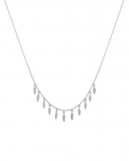 Collier femme chaîne et multiples pampilles pétales en argent 925 - Bijoux créateur tendance - Madame Vedette