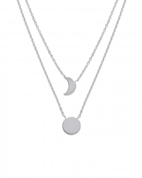 Collier double pendentifs LUNE /& ETOILE doré ou argenté pour femme