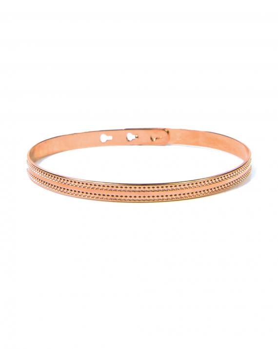 Bracelet jonc cadenas plaqué or rose pour femme - Bijoux de créateurs - Madame Vedette