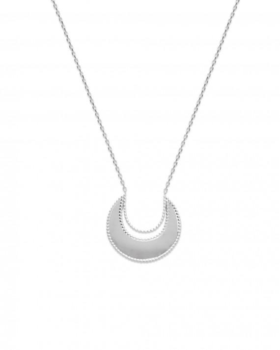 Collier chaîne argent 925 demi lune miroir - Bijoux création tendance - Madame Vedette