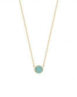 Collier chaîne plaqué or pastille turquoises - Bijoux créateur tendance - Madame Vedette