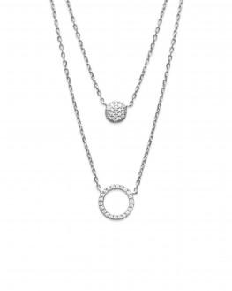 Collier chaîne argent 925 double rang strass ajouré - Bijoux créateur tendance - Madame Vedette