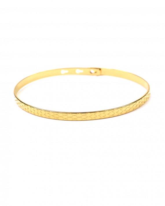 Bracelet jonc cadenas écailles ruban plaqué or - Bijoux créateurs - Madame Vedette