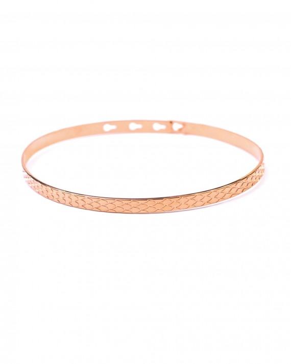 Bracelet jonc cadenas ruban écailles plaqué or rose - Bijoux tendance à accumuler - Madame Vedette