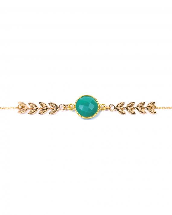 Bracelet chaîne plaqué or épis et pierre de couleur pour femme - Bijoux Madame Vedette