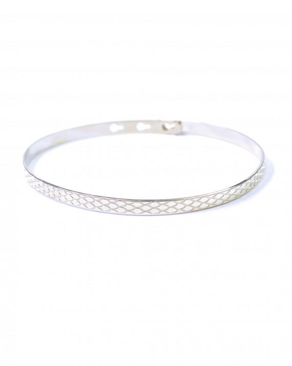Acheter bracelet femme jonc cadenas ruban plat argent 925 - Bijoux de créateur - Madame Vedette