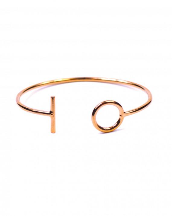 Acheter bracelet femme jonc ouvert fermoir plaqué or rose - Bijoux créateur tendance - Madame Vedette