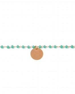 Acheter bracelet plaqué or rose perles et pampille médaille - Bijoux créateur - Madame Vedette