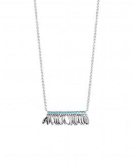 Collier chaîne argent 925 pétales et turquoises - Bijoux créateur tendance - Madame Vedette