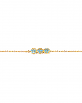 Bracelet chaîne plaqué or trio pastille et turquoises pour femme - Créatrice tendance Madame Vedette