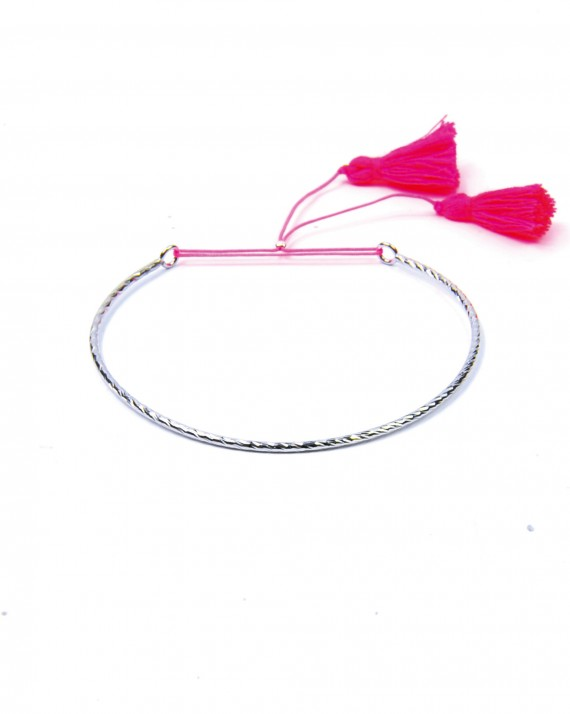 Bracelet jonc ouvert argent 925 tendance été pompon - Bijoux créateur - Madame Vedette