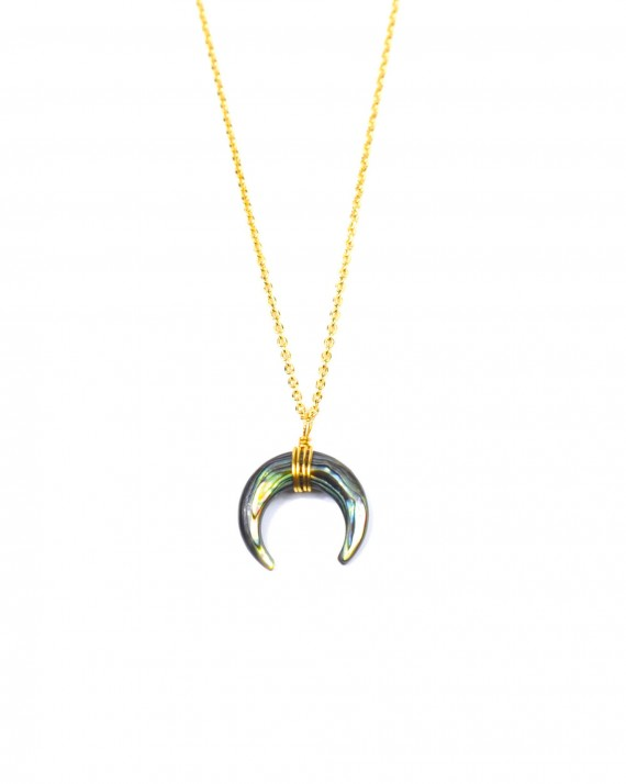 Collier chaîne plaqué or pendentif corne - Bijoux créateur tendance - Madame Vedette