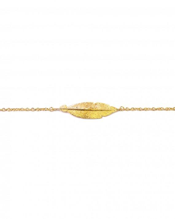 Bracelet chaîne plaqué or plume - Bijoux créateur blog mode - Madame Vedette