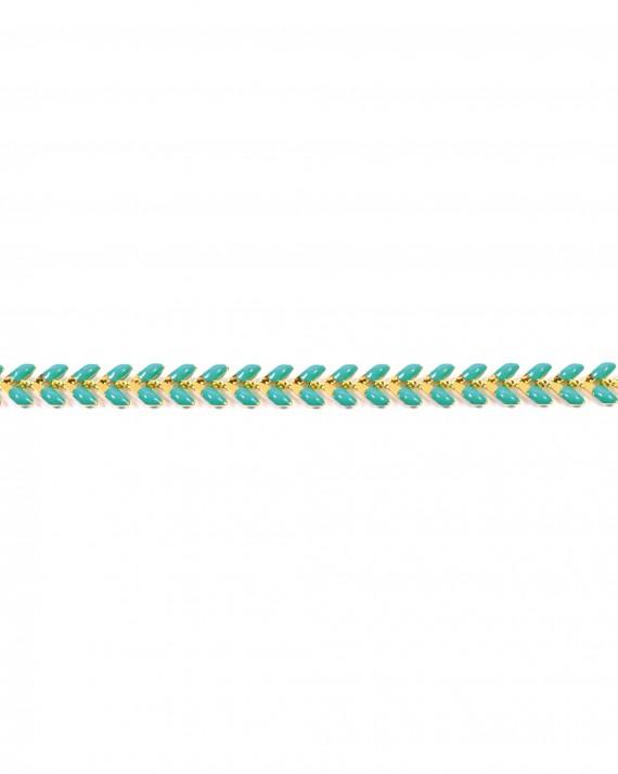 Bracelet chaîne plaqué or épis couleur turquoise - Bijoux créateur blog mode - Madame Vedette