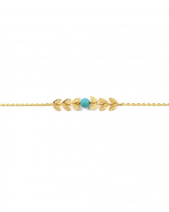 Bracelet chaîne plaqué or épis perle - Bijoux créateur blog mode - Madame Vedette