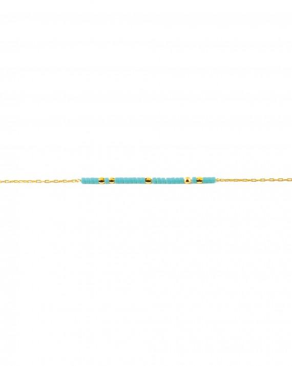 Bracelet fin plaqué or pour femme - Bijoux perles couleur - Madame Vedette