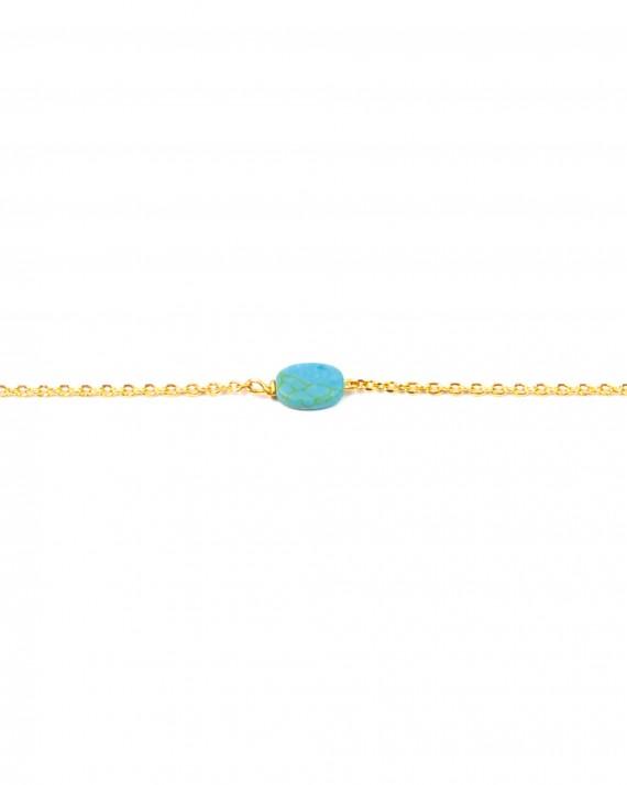 Bracelet chaîne plaqué or pierre turquoise - Bijoux créateur blog mode - Madame Vedette