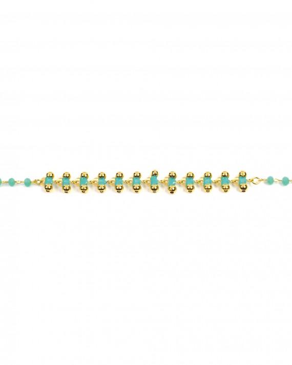 Bracelet chaîne plaqué or perles dorées turquoises - Bijoux créateur blog mode - Madame Vedette