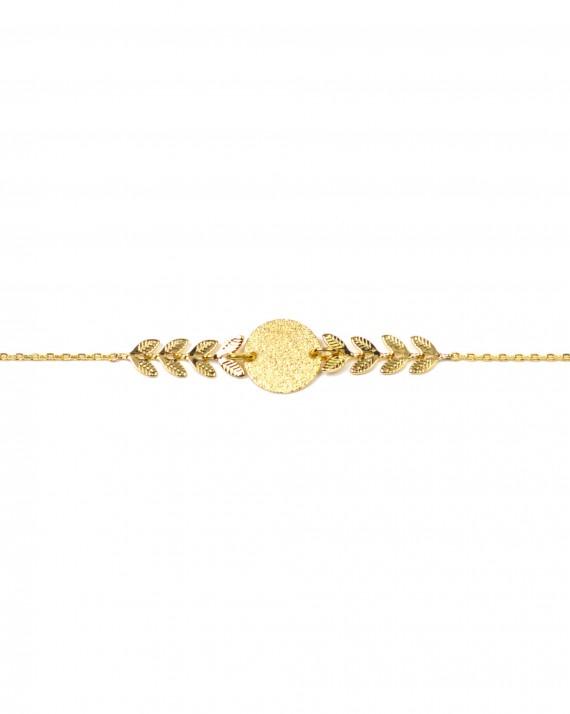 Bracelet chaîne plaqué or épis pastille - Bijoux Paris créateur - Madame Vedette