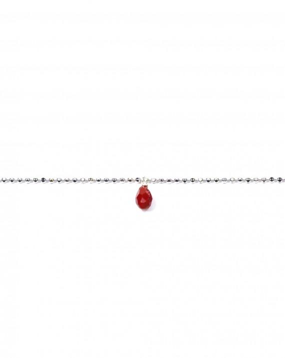 Bracelet chaîne boules en argent 925 et pierre de couleur - Création de bijoux femme - Madame Vedette