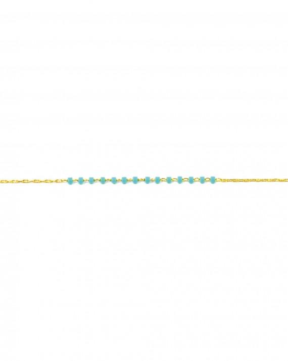 Bracelet chaîne fine plaqué or et perles couleur - Bijoux créateur blog mode - Madame Vedette