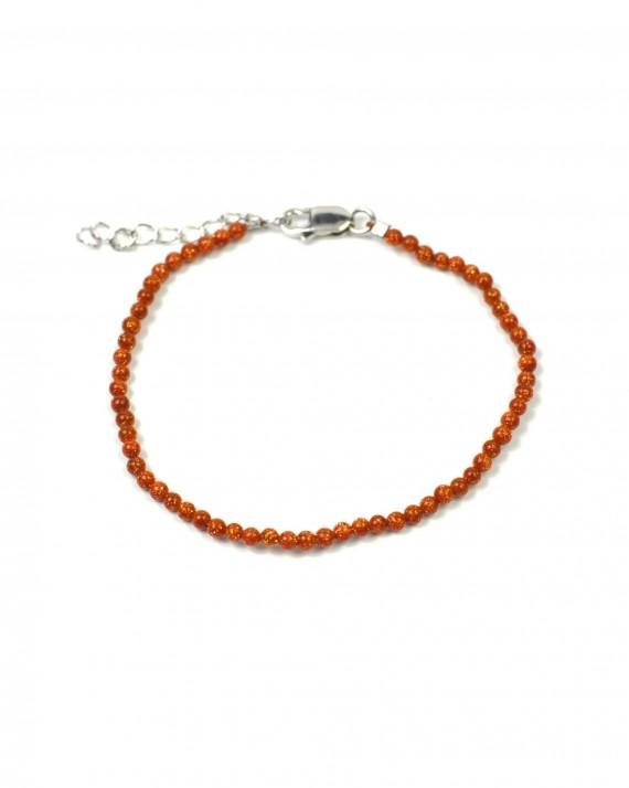 Bracelet argent 925 perles marron - Bijoux création Paris - Madame Vedette