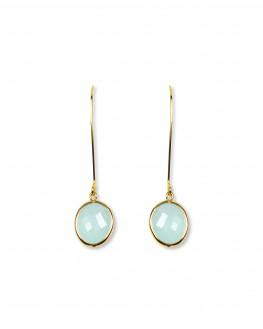 Nouveauté boucles d'oreilles dormeuses plaqué or et pierre de couleur - Bijoux fantaisie créateurs - Madame Vedette