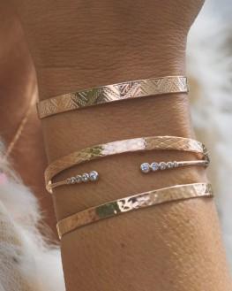 Composition bracelets joncs cadenas ruban plaqué or rose - Bijoux créateur Paris - Madame Vedette