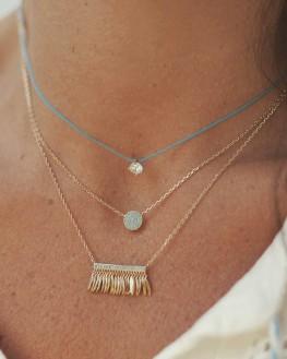 Collier chaîne doré or fin pastille pierres turquoises - Bijoux créateur tendance - Madame Vedette