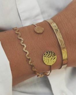 Bracelet jonc ouvert doré or fin pastilles martelées tendance - Bijoux créateur mode - Madame Vedette