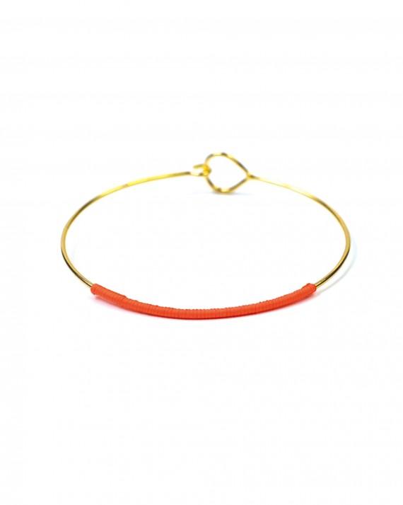 Bracelet jonc fin plaqué or fil couleur - Bijoux créateur tendance été - Madame Vedette