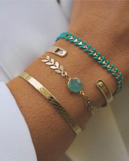 Composition bracelets femme en plaqué or et pierre verte - Bijoux de créateur - Madame Vedette