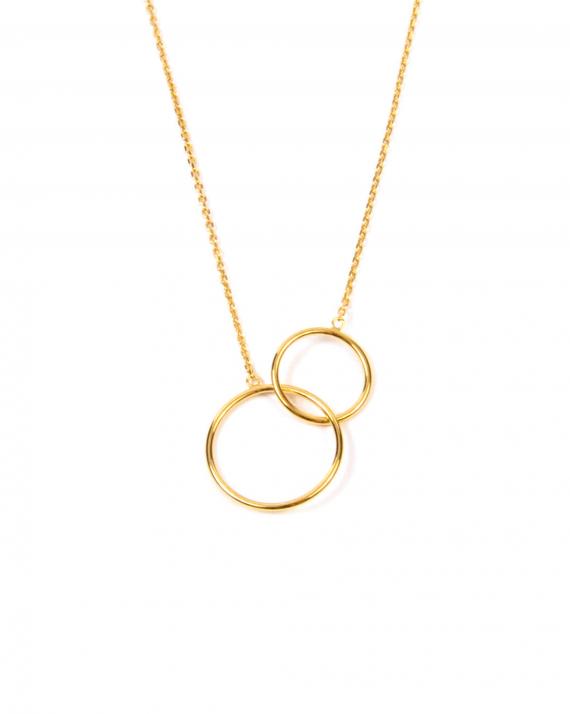 Collier chaîne plaqué or anneaux entrelacés - Madame Vedette
