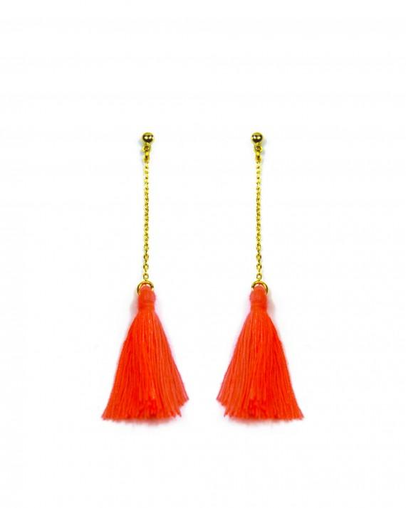 Boucles d'oreilles chaîne plaqué or pompon couleur - Bijoux créateur top tendance - Madame Vedette