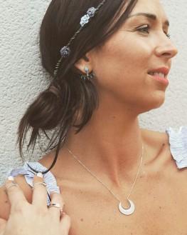 Boucles d'oreilles tendances en argent 925 et turquoises - Bijoux créateur accessoires mode - Madame Vedette