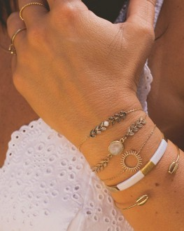 Composition bracelet jonc ouvert plaqué or tendance femme - Bijoux créateur - Madame Vedette