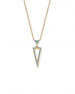 Collier chaîne triangles et turquoises plaqué or - Création bijoux femme tendance - Madame Vedette