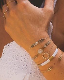 Bracelet femme plaqué or chaîne et pierre couleur - Bijoux de créateur à offrir - Madame Vedette