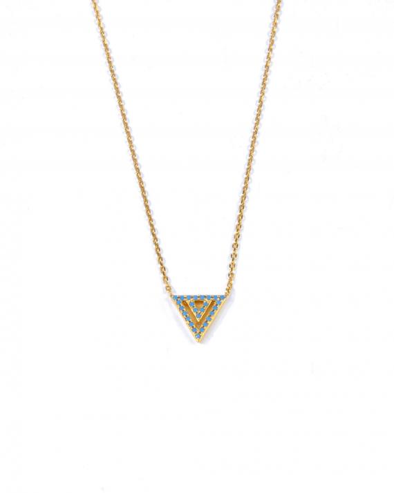 Collier chaîne triangle plaqué or & turquoises - Madame Vedette création bijoux tendance