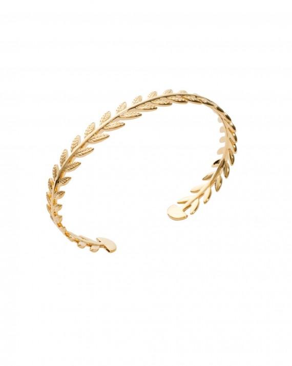 Bracelet jonc ouvert lauriers doré à l'or fin - Bijoux créateur tendance mode - Madame Vedette
